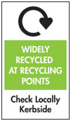 Widely Recycled at Recycling Points: Check Locally Curbside