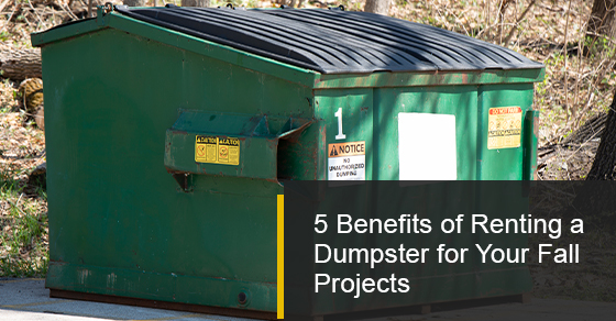 Renting a dumpster and its benefits for your fall projects